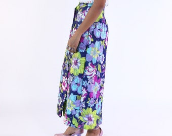 Purple blue magenta lime violet and navy vintage satin quilted floral flower mod 60s 70s maxi skirt