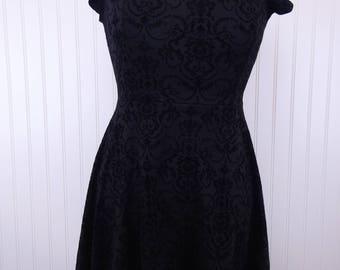 Vintage 90s Black Burnout Velvet Filigree Pattern Dress