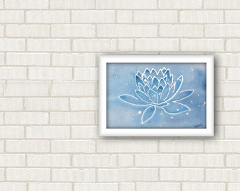 Small lotus painting, art therapy, nursery decor, sacred geometry wall living room, namaste wall art, spiritual art, love is my religion.