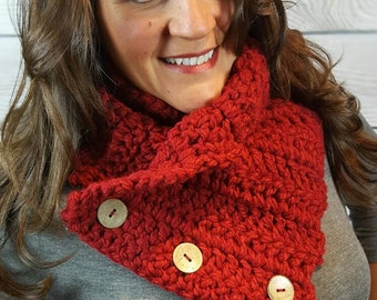 Cranberry Boston Harbor Scarf, Crochet Chunky Red Scarf, Circle Scarf-Rich Cranberry Color with 3 Coconut Buttons