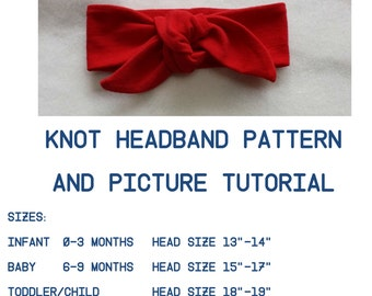 Headwrap PDF Pattern,Tutorial Top Knot Pattern,Headwrap PDF,Pattern, Infant Headband