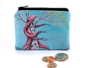 Content - Small Zipper Pouch - Girl Birch Tree with Wind Blown Pink Hair - Art by Marcia Furman