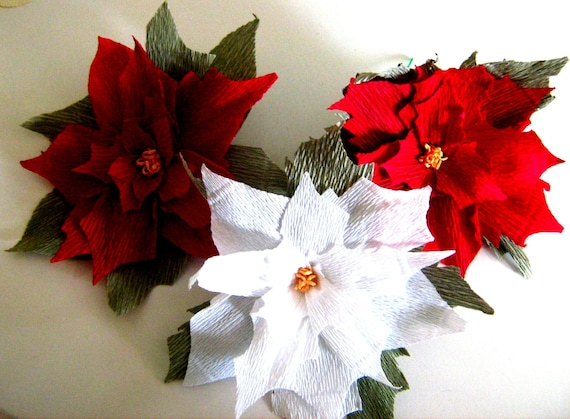 Items similar to 8 large paper flowers poinsettia red white party items similar to 8 large paper flowers poinsettia red white party christmas decoration photo backdrop centerpiece decor wall arch flower wedding baby shower mightylinksfo