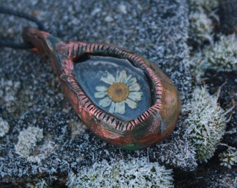 real daisy steampunk necklace