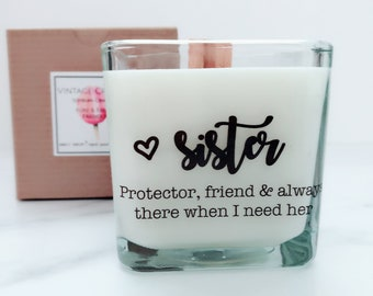 NEW Sister Soy Candle ~ Personalized Bridesmaid Candle ~Sister Wedding Gift ~Matron of Honor Gift~Bridesmaid Gift~Bridesmaid Proposal Box~