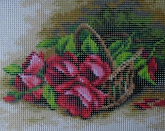 Needlepoint tapestry, Flowers, basket of roses, 18 x 24 cm, REF 2717