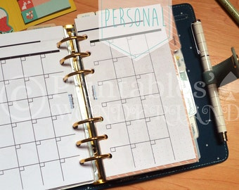 Monthly planner inserts undated for personal size organizer, month on two pages, monthly goals and vision board printable back to school