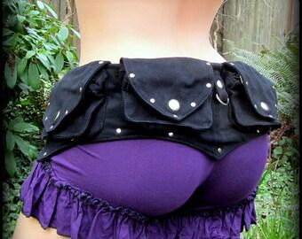 Festival Belt Bag ~ Utility Belt in Black Vegan Canvas w/ Silver Snaps & Rivets ~ Burning Man style fanny pack, Hip bag, holster bag, Batman