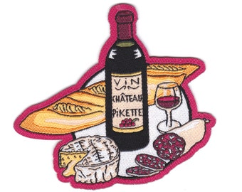 """French """"Apero"""" easy iron on Patch/ Badge - wine/ camembert/ saucisson/ baguette - With Christmas packaging"""
