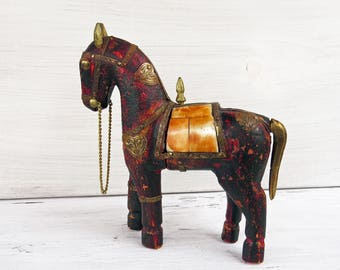 Vintage Wood and Brass Horse Figurine- Bone Saddle- Hand Painted Miniature Horse Figurine 6""