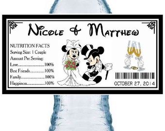 50 Disney MICKEY & MINNIE Mouse WEDDING party favors water bottle labels ~ glossy ~ waterproof ink ~ Free Shipping