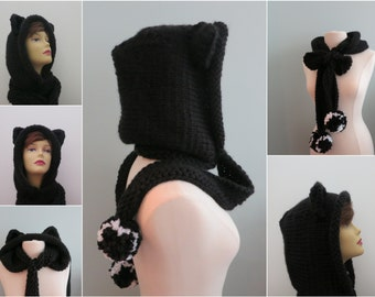 Cat Hat Hoodie with Optional Cat Ears Scarf Pompoms Whimsical and Playful Knitting Pattern