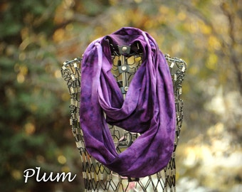 Purple Infinity Scarf-Cotton Jersey Scarf-Marble Abstract Scarf-Plum Purple