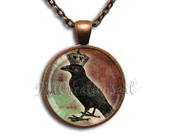 King Crow Glass Dome Pendant or with Chain Link Necklace  HD126