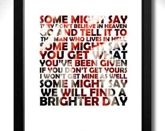 OASIS - Some Might Say -  Limited Edition Unframed Art Print with Lyrics