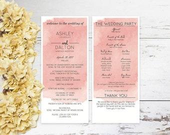 Printable Wedding Program Wedding Program Template Instant