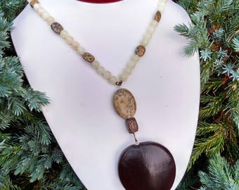 Handmade Seed Pod Pendant Necklace with Yellow Jade-176A