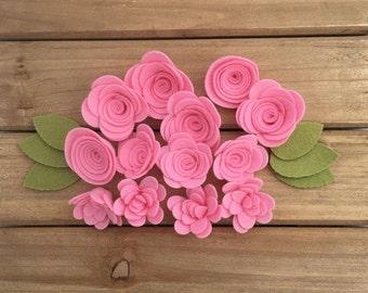 Pink Handmade Wool Felt Flowers