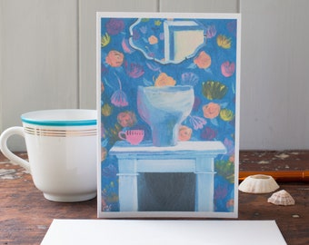 Interior art card - blank greeting card - housewarming gift - thank you card for her - mantlepiece - floral wallpaper - can be personalised