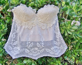 Crochet Top,  Spring break, Strapless Lace Top, Lace Corset top, Summer Top, size 32