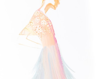 Softest Layers, print from original mixed media fashion illustration by Jessica Durrant