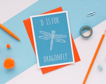 Dragonfly Card / Dragonfly Notecard / Animal Alphabet Card / Animal Alphabet / Insect Card / Notecard / Animal Card / Dragonfly