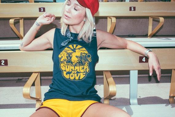 Navy Summer of Love Sleeveless Tee womens Muscle Tank CQZrholE