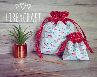 Project Bag.Sock bag.Knitting bag.Crochet bag.Knitting notions.Drawstring bag.Gift set.Flamingo.Novelty.Notions pouch.