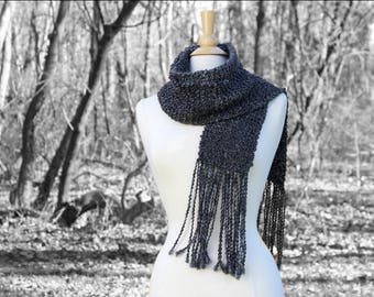Knit scarf for him, knit scarf for her, dark gray knit scarf, charcoal gray knitted scarf with tassels, gift for her, mothers day gift