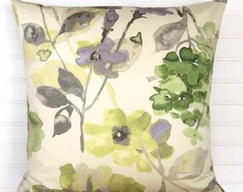 Green Floral Pillow Cover, Citron Green Throw Pillow, 18x18 Throw Pillow Cover, Pillow Cover, Green Cushion Cover, Floral Cushion Cover