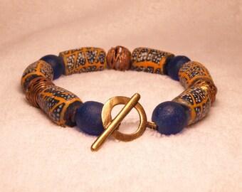 African Bracelet, Krobo Beads and Brass