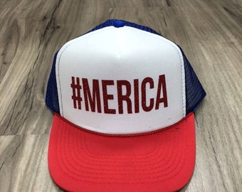 Merica #Merica Glitter Trucker Hat Patriotic Hats Fourth Of July Hat Memorial Day Glitter Merica Womens Trucker Hats