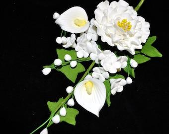 White Peony, Calla Lily and Apple Blossom Spray Wedding Cake Topper Decoration