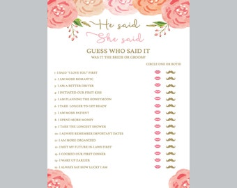 he said she said bridal shower game, pink nd white bridal shower game, wedding shower game, floral shower Game, pink and white bridal shower