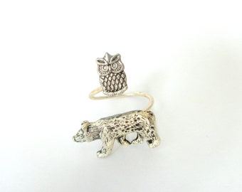 Owl bear ring wrap style, adjustable ring, animal ring, silver ring, statement ring
