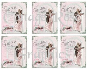Pink Christmas Ball dance greeting card sheet Large digital download 3.5 x 4 inches ECS buy 3 get one free