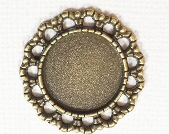 10 Antique brass finished Cabochon setting for 16mm Cabochon , antique brass connector 25mm