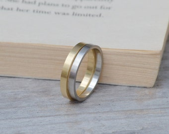 Flat Wedding Band In Sterling Silver, Yellow Gold, White Gold, Platinum, And Palladium, Simple Stacking Ring 2mm, Handmade In England