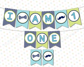 I am one banner (INSTANT DOWNLOAD) - High chair banner boy - Highchair banner - Little Man first Birthday -One banner boy MU004