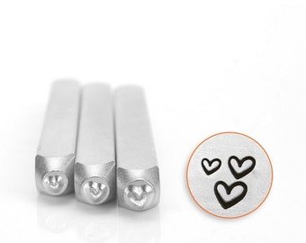 HEART Stamp Pack, Three Metal Stamps ImpressArt Sizes 1.5mm, 2mm, and 3mm Tiny, Small Outline Hearts Metal Leather and Clay Tool Impress Art