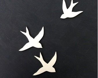 Wall art Birds Set of three handmade porcelain swallows Ceramic wall sculpture installation Original artwork Faux taxidermy Handmade pottery