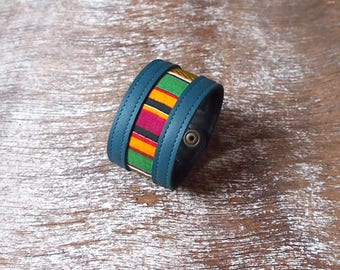 Leather strap and multicolored African fabric
