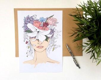 Fashion illustration, A4 print // Flower girl print //Illustration print // Fashion art print //Floral print //fashion wall art // art print