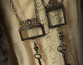 ORIGINAL Soldered Filigree Glass Bevel© and Vintage Skeleton Key Necklace