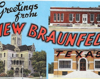 Large Letter POSTCARD / Vintage Greetings from NEW BRAUNFELS Texas Large Letters Postcard Unused unposted