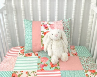 Baby Blanket, Baby Quilt, Patchwork Quilt, Nursery Decor, Baby Gift, Shabby Chic, Floral, Flowers, Blush Pink Teal Mint Coral, Baby Girl