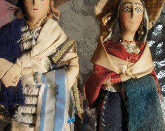 Vintage Doll couple/ family-wearing traditional dress. South America -1950's- display dolls- intricate detail-