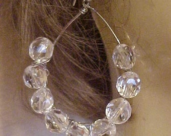 LEAD CRYSTAL, WIRED Earrings~~Lovely, clear Crystal beads wired on silver tone hoops~~For pierced Ears