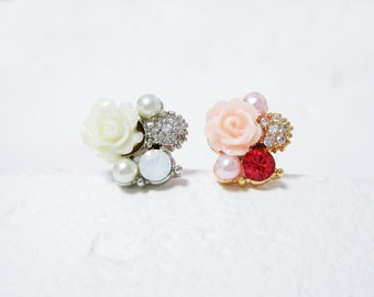 Rose, Pearl, CZ, Round cubic Cartilage earring/ Helix, conch, tragus earring/ 16gauge, Sold as one