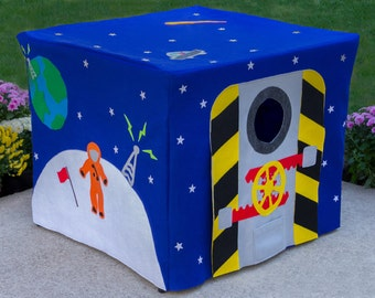 Outer Space Card Table Playhouse, Play Tent, Tablecloth Fort, Felt Fabric Astronaut Playhouse, Kids Fort, Personalized, Custom Order